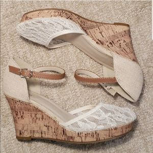 Cream Lace Ankle Strap Wedge Heels  Apt. 9